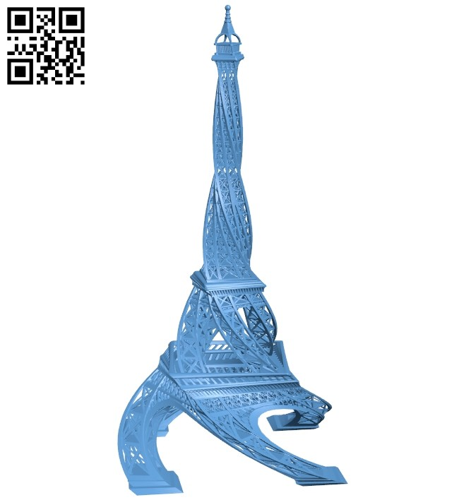 Twisted Eiffel tower B008490 file stl free download 3D Model for CNC and 3d printer