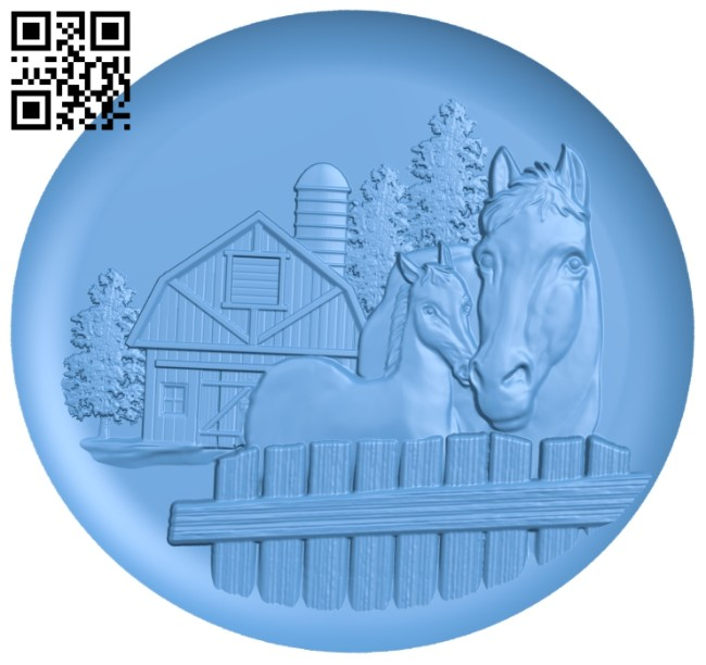 Two horses in the barn A005597 download free stl files 3d model for CNC wood carving
