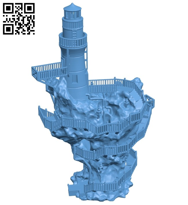 Aiba lighthouse - house B008775 file obj free download 3D Model for CNC and 3d printer