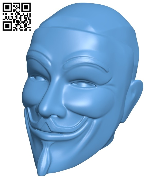 Anonymous figurine head B008804 file obj free download 3D Model for CNC and 3d printer