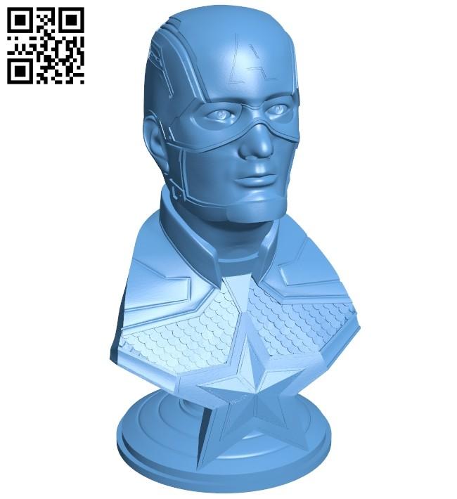 Captain America bust - superhero B008726 file obj free download 3D Model for CNC and 3d printer