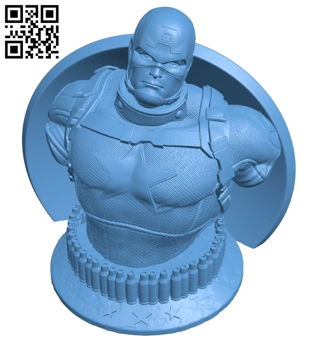 Captain America bust - superhero B008755 file obj free download 3D Model for CNC and 3d printer
