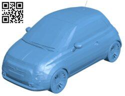 Car Fiat 500 2008 B008820 file obj free download 3D Model for CNC and 3d printer