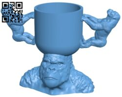 Cup of gorilla B008707 file obj free download 3D Model for CNC and 3d printer
