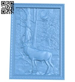 Deer painting A005829 download free stl files 3d model for CNC wood carving
