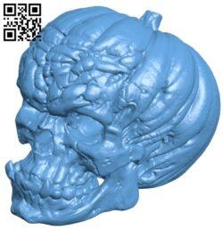 Evil pumpkin skull sample B008883 file obj free download 3D Model for CNC and 3d printer
