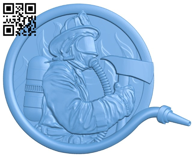 Firefighter picture A005765 download free stl files 3d model for CNC wood carving