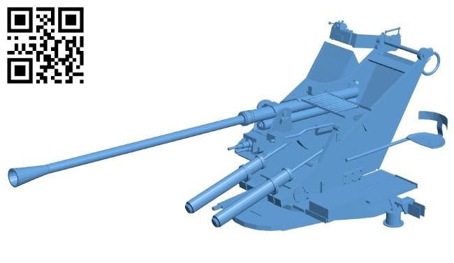 Flak 37 - Gun B008622 file stl free download 3D Model for CNC and 3d printer
