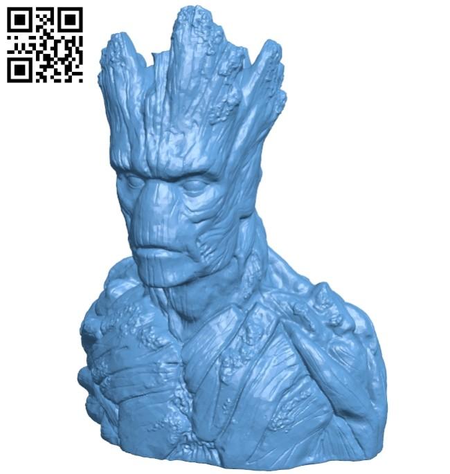 Groot bust - superhero B008665 file stl free download 3D Model for CNC and 3d printer