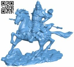 Guan Gong in horse B008855 file obj free download 3D Model for CNC and 3d printer