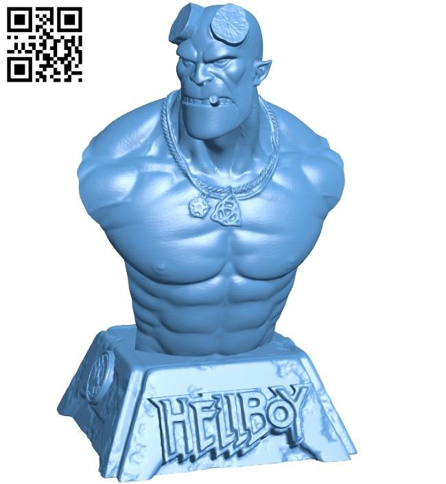 Hellboy bust B008905 file obj free download 3D Model for CNC and 3d printer