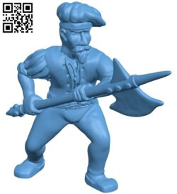 Human Halberdiers B008888 file obj free download 3D Model for CNC and 3d printer