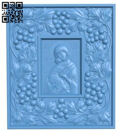Icon of the Vladimir Mother of God in a large frame A005841 download free stl files 3d model for CNC wood carving