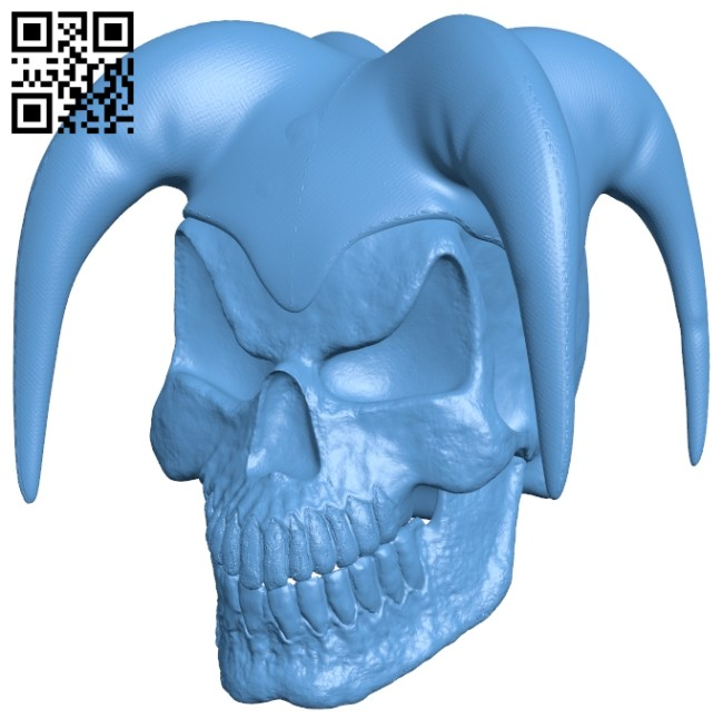 Jester skull B008627 file stl free download 3D Model for CNC and 3d printer