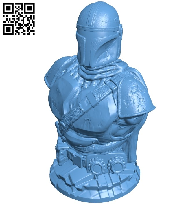 Mandalorian bust B008866 file obj free download 3D Model for CNC and 3d printer