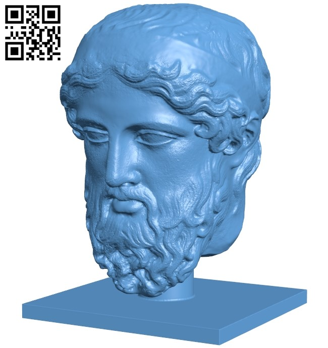 Met marble head of a herm B008909 file obj free download 3D Model for CNC and 3d printer