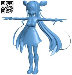 Miss Anime character B008802 file obj free download 3D Model for CNC and 3d printer