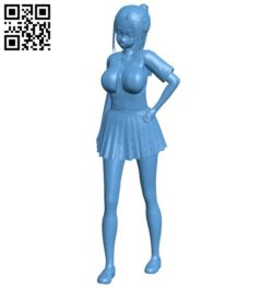 Miss Anime student B008889 file obj free download 3D Model for CNC and 3d printer