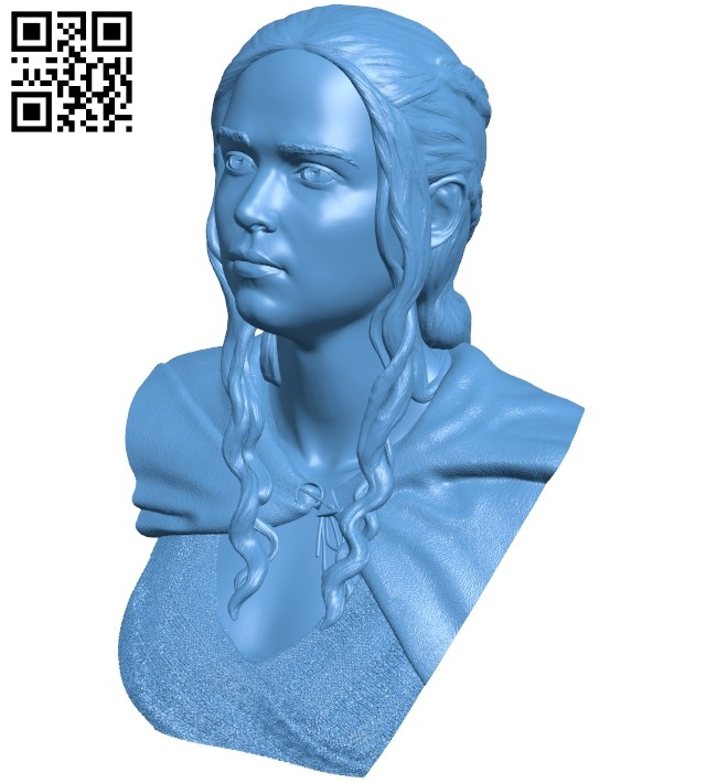 Miss Daenerys noinfill bust B008768 file obj free download 3D Model for CNC and 3d printer