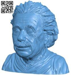 Mr Albert Einstein bust B008737 file obj free download 3D Model for CNC and 3d printer
