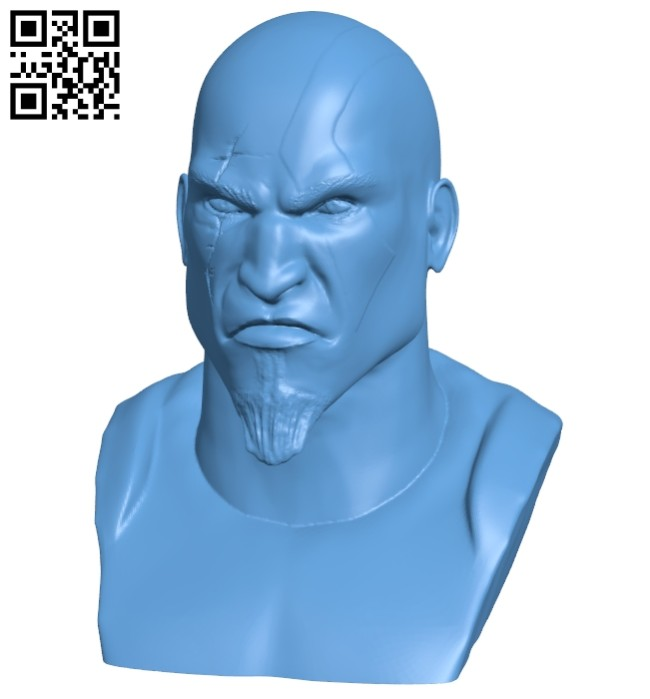 Mr Kratos bust B008629 file stl free download 3D Model for CNC and 3d printer