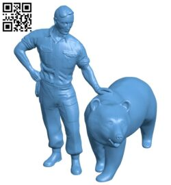 Soldier Bear 'Wojtek' on Princes Street – man B008836 file obj free download 3D Model for CNC and 3d printer
