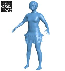 Stocky girl B008873 file obj free download 3D Model for CNC and 3d printer