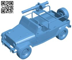 jeep with gun B008876 file obj free download 3D Model for CNC and 3d printer