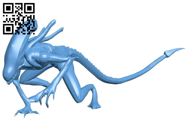 Attacking xenomorph - alien B009032 file obj free download 3D Model for CNC and 3d printer