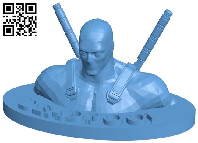 Deadpool bust B008987 file obj free download 3D Model for CNC and 3d printer