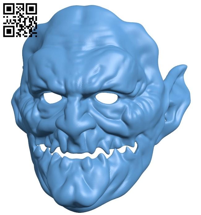 Demon mask B009011 file obj free download 3D Model for CNC and 3d printer