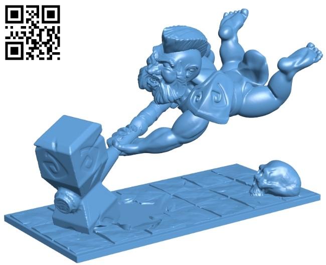Dwarf Berserker - statue B008957 file obj free download 3D Model for CNC and 3d printer