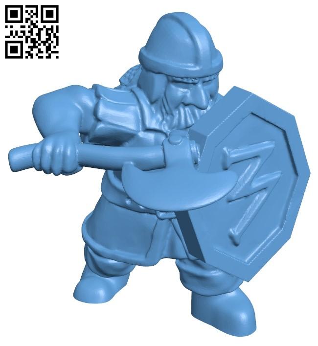Dwarf Soldier man B008936 file obj free download 3D Model for CNC and 3d printer