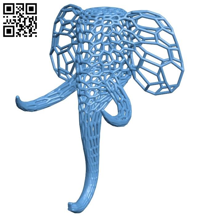 Elephant voronoi - head B009002 file obj free download 3D Model for CNC and 3d printer