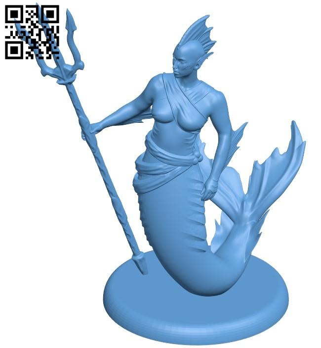 Female merfolk B009030 file obj free download 3D Model for CNC and 3d printer