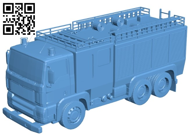 Fire truck B009035 file obj free download 3D Model for CNC and 3d printer