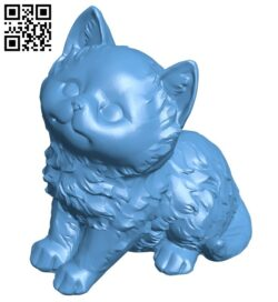 Fluffy kitten – cat B008941 file obj free download 3D Model for CNC and 3d printer