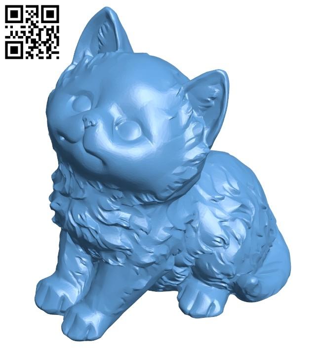Fluffy kitten - cat B008941 file obj free download 3D Model for CNC and 3d printer
