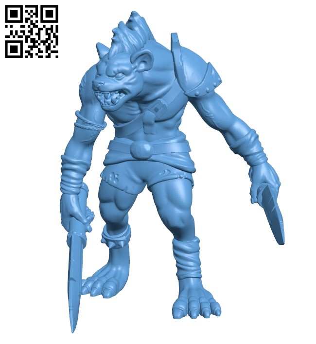 Gnoll fighter B008989 file obj free download 3D Model for CNC and 3d printer