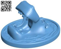 Hippo in water B008971 file obj free download 3D Model for CNC and 3d printer