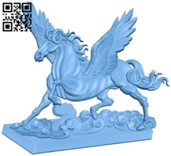 Horse painting with wings A005920 download free stl files 3d model for CNC wood carving