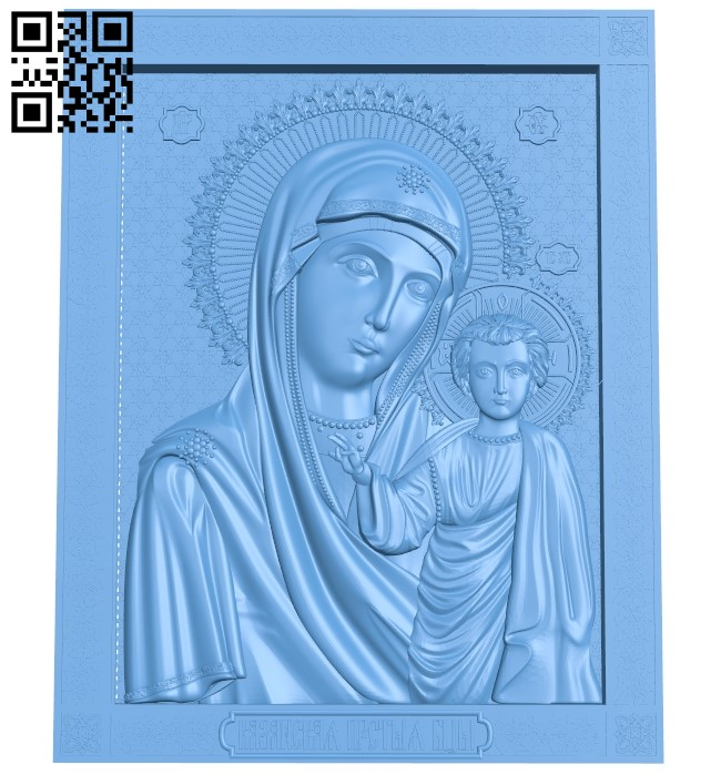 Icon of Our Lady of Kazan A005930 download free stl files 3d model for CNC wood carving