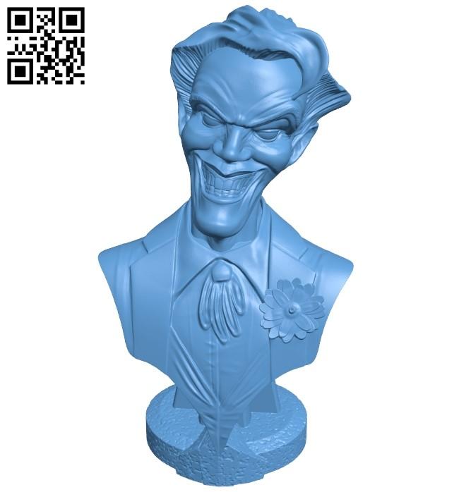 Joker bust B008944 file obj free download 3D Model for CNC and 3d printer