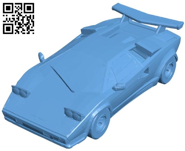 Lamborghini countach car B008984 file obj free download 3D Model for CNC and 3d printer