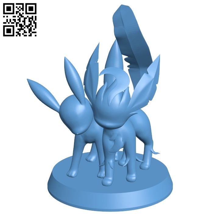 Leafeon + Umbreon - pokemon B009039 file obj free download 3D Model for CNC and 3d printer