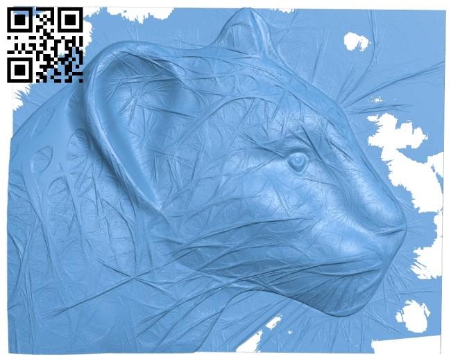 Leopard head A005927 download free stl files 3d model for CNC wood carving