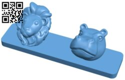 Lion and hippo – animal coat hanger B008985 file obj free download 3D Model for CNC and 3d printer