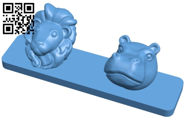 Lion and hippo - animal coat hanger B008985 file obj free download 3D Model for CNC and 3d printer