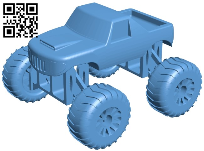 Mini monster truck B009000 file obj free download 3D Model for CNC and 3d printer