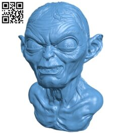 Mr Gollum bust B008922 file obj free download 3D Model for CNC and 3d printer